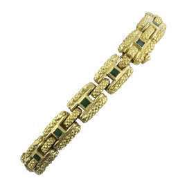 Judith Ripka 18K Yellow Gold 1.05 Ct Square-Cut Emerald Textured Link Bracelet