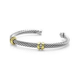David Yurman 925 Sterling Silver 18K Yellow Gold Station Cable Classics Diamond Bracelet