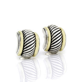 David Yurman Thoroughbred Sterling Silver and 14K Yellow Gold Earrings