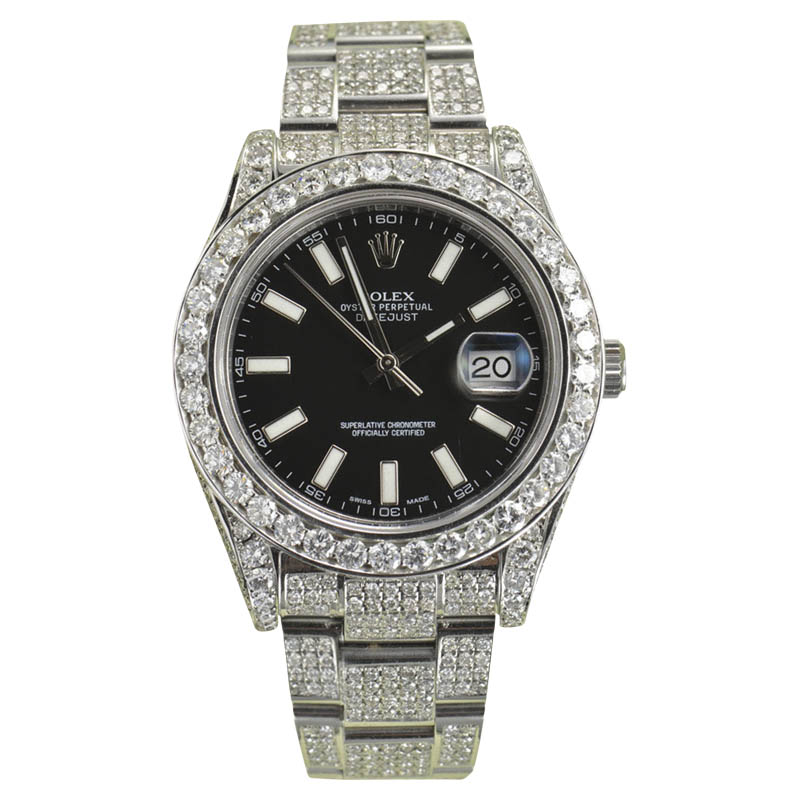 "Image of ""Rolex Datejust II 116334 Black Index Steel Diamond Iced 41mm Mens"""