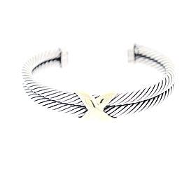 David Yurman Sterling Silver & 14K Yellow Gold Double Cable X Cuff Bracelet