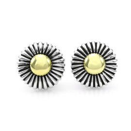 Lagos Caviar Sterling Silver and 18K Yellow Gold Earrings
