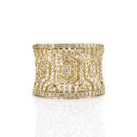 Effy D'Oro 14K Yellow Gold Micro-Pave Diamond Ring Size 7.0