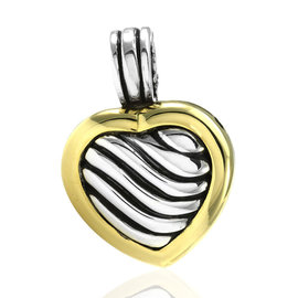 David Yurman Sculpted Cable Sterling Silver and 18K Yellow Gold Heart Locket Pendant