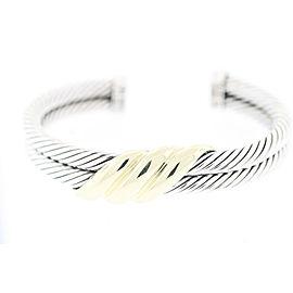 David Yurman Sterling Silver & 14K Yellow Gold Double Cable Cuff Bracelet