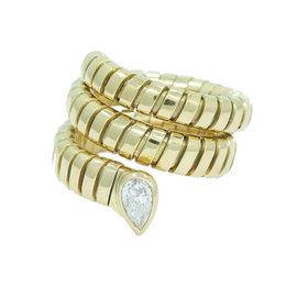 Bulgari Tubogas 18K Yellow Gold Diamond Coil Snake Ring Size 5-6
