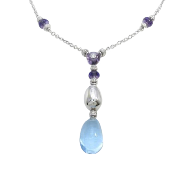 "Image of ""Bulgari 18K White Gold Blue Topaz Amethyst Eden Necklace"""
