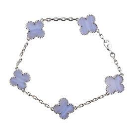 Van Cleef & Arpels 18K White Gold Alhambra Chalcedony Motif Bracelet
