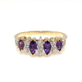 10k Yellow Gold Marquise Amethyst & Diamond Ring Size 7