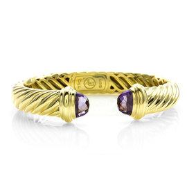 David Yurman 18K Yellow Gold Amethyst Cable Classics Bracelet