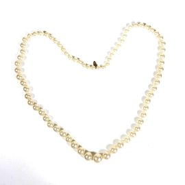 Chanel Gold Tone Metal & Pearl Graduated Beads Charm Chain Necklace