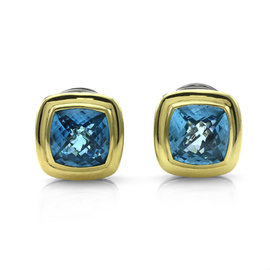 David Yurman 925 Sterling Silver and 18K Yellow Gold Albion Blue Topaz Clip-on Earrings