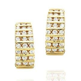 Hammerman Brothers 14K Yellow Gold Bar Set 1.70ctw. Diamond Semi-Hoop Earrings