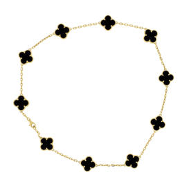 Van Cleef & Arpels 18K Yellow Gold Alhambra Motif Black Onyx Necklace
