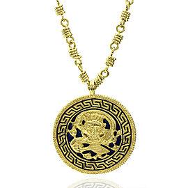 Van Cleef & Arpels 18k Yellow Gold Enamel Dragon Medallion Necklace