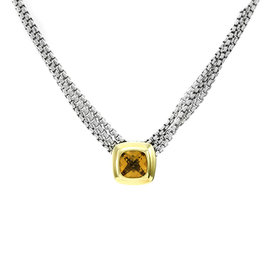 David Yurman Sterling Silver and 18K Yellow Gold Citrine Necklace