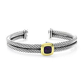 David Yurman Sterling Silver and 18K Yellow Gold Double Cable Amethyst Bracelet