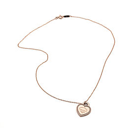 Tiffany & Co. Return to NY 18K Rose Gold & Diamonds Micro-Pave Heart Tag Necklace