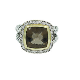 David Yurman 18K Yellow Gold and 925 Sterling Silver Smokey Quartz and 0.33ct. Diamond Ring Size 7