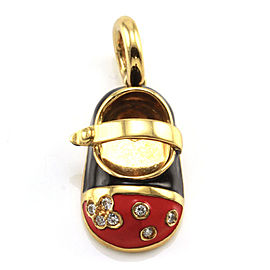 Aaron Basha 18K Yellow Gold Enamel and Diamond Baby Shoe Pendant