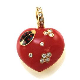 Aaron Basha 18K Yellow Gold Pave Diamonds Enamel Ladybug Heart Pendant