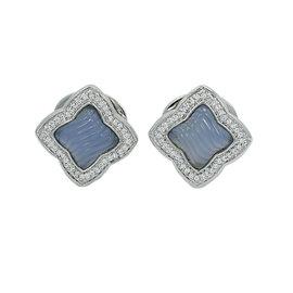 David Yurman 18K White Gold Quatrefoil Chalcedony and 0.88ct. Diamond Earrings
