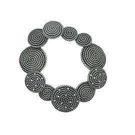 David Yurman 925 Sterling Silver and Stainless Steel Rope Circle 0.30ct. Diamond Bracelet