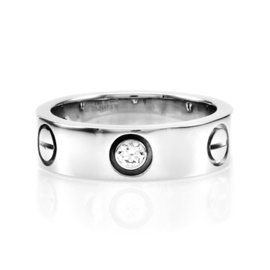 Cartier Love 18K White Gold Diamond Ring Size 4.75