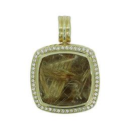 David Yurman 18K Yellow Gold Rutilated Quartz and Diamond Pendant