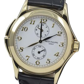 Patek Philippe Calatrava 5134J Travel Dual Time 18K Yellow Gold Manual Wind 37mm Mens Watch