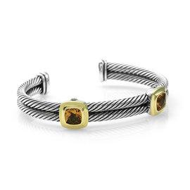 David Yurman 925 Sterling Silver and 18K Yellow Gold Citrine Woven Bracelet