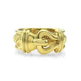 David Yurman 18K Yellow Gold Buckle Cable Ring Size 4.25