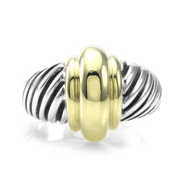David Yurman Cable Classics 925 Sterling Silver and 14K Yellow Gold Ring Size 7.5