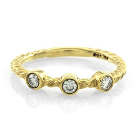 David Yurman Cable Collectibles 18K Yellow Gold & Diamond Stackable Ring Size 6.5