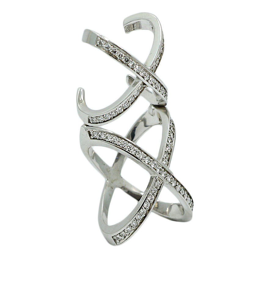 "Image of ""14K White Gold 1.15ct. Diamond Double X Style Knuckle Ring Size 5"""