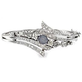 14K White Gold Gray Star Sapphire & Diamond Bypass Bangle Bracelet