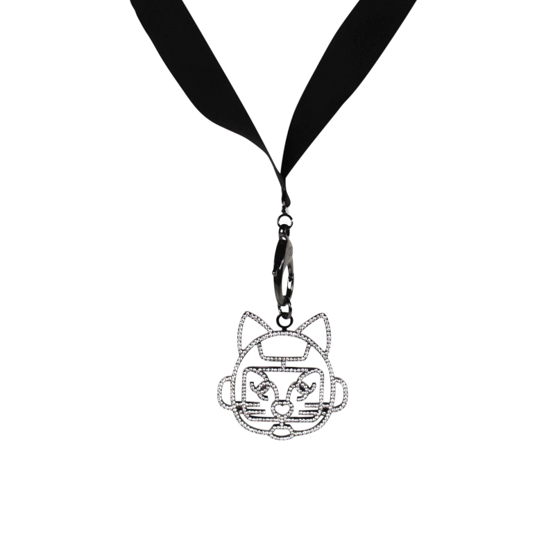 "Image of ""Chanel Silver Tone Hardware & Resin Cat CC Charm Pendant Logo Necklace"""