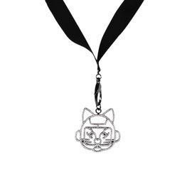 Chanel Silver Tone Hardware & Resin Cat CC Charm Pendant Logo Necklace