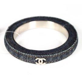 Chanel Silver Tone Hardware & Denim Blue Bangle Cuff Bracelet