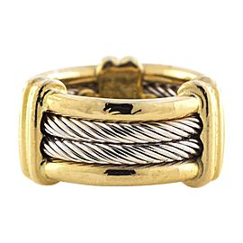 Charriol 18K Yellow Gold & 925 Sterling Silver Double Row Cable Ring Size 3