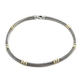 David Yurman 925 Sterling Silver and 14K Yellow Gold Pearl Hampton Necklace