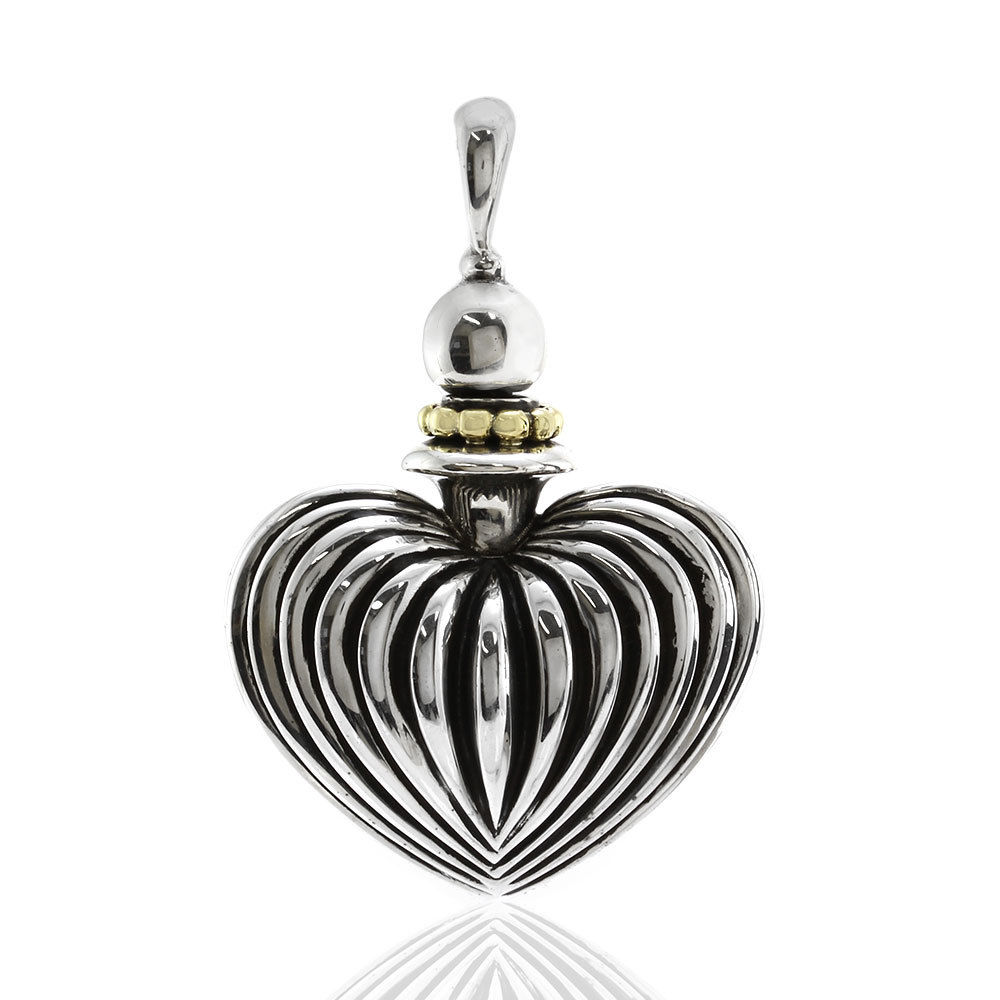 """Image of """"Lagos Caviar Sterling Silver and 18K Yellow Gold Heart Perfume Pendant"""""""