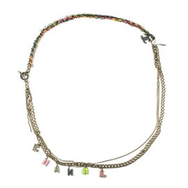 Chanel Gold Tone Hardware Multistrand Logo Faux Pearl Crystal Charms Cuba Pink Necklace