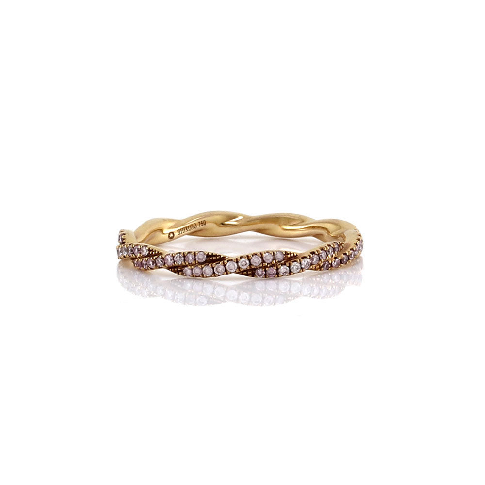 "Image of ""Hidalgo 18K Rose Gold & Pink Diamond Twist Ring Size 6.5"""