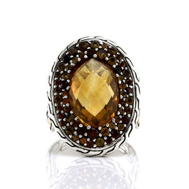 John Hardy Sterling Silver and 18K Yellow Gold Citrine & Garnet Batu Kawung Ring Size 7.5