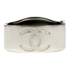 Chanel Silver Tone Hardware Mirror CC Logo Bangle Bracelet