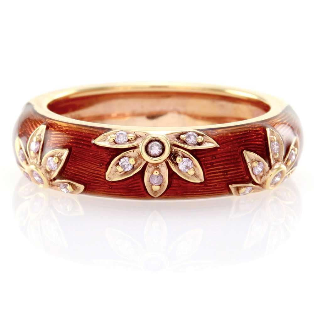 "Image of ""Hidalgo 18K Rose Gold & Sienna Brown Enamel with Diamonds Flower Band"""