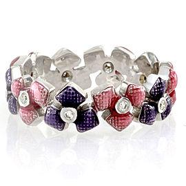 Hidalgo 18K White Gold Pink & Purple Enamel with Diamonds Flower Eternity Band Ring Size 6.25