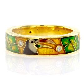 Hidalgo 18K Yellow Gold Diamond and Enamel Toucan Stackable Eternity Band Ring Size 6.25