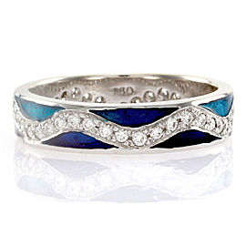 Hidalgo 18K White Gold Ocean and Navy Blue Enamel with Diamonds Wave Band Ring Size 6.25